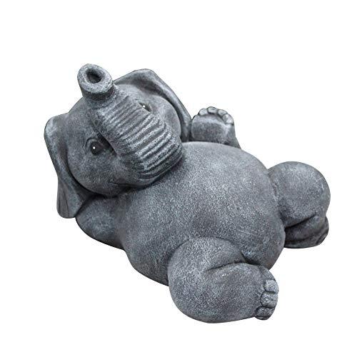 Tiefes Kunsthandwerk Steinfigur Elefant liegend Schiefergrau Garten Deko Figur Stein Frostsicher