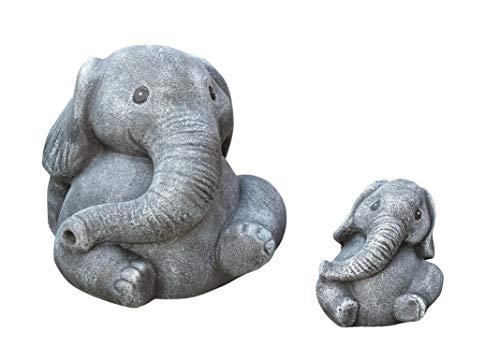 Tiefes Kunsthandwerk Steinfigur Elefanten 2er Set - Schiefergrau Deko Figur Garten Stein frostsicher