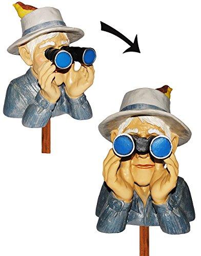 Unbekannt Jäger  Opa mit Hut Vogel Fernglas - als  Spanner am Gartenzaun  - große XL Figur - aus Kunstharz - Gartenzwerg  Gartendeko Garten - Nachbar Reisen Urla