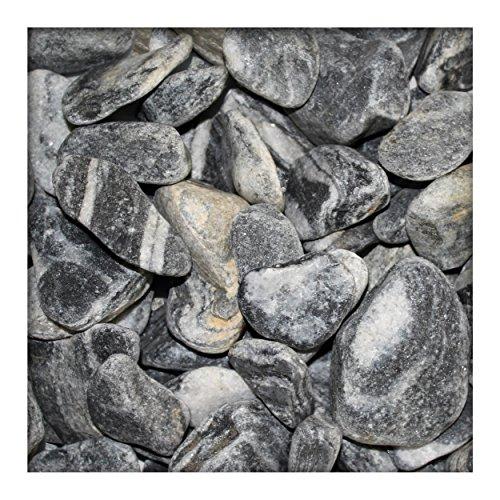 Kieskönig Flusskiesel New Linea Schwarz Weiss Zierkies River Pebbles Ziersteine 10 kg Sackware