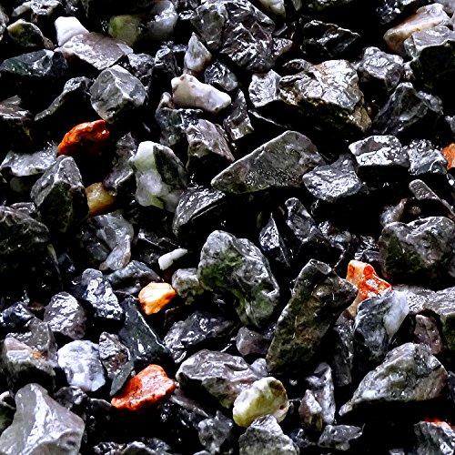 MGS SHOP Zierkies Marmorkies VULKANO gebrochen Marmor Splitt - Farbe schwarz mit Lichtreflexen in rot und weißVulkano-Schwarz