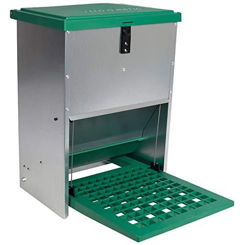 VOSSfarming Geflügelfutterautomat Feedomatic mit Pedalzufuhr bis zu 12kg Futter HühnerPuten Gänse Enten