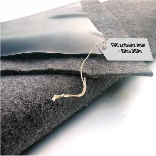 Teichfolie PVC 1mm schwarz in 10m x 8m mit Vlies 300gqm