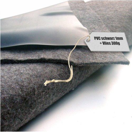 Teichfolie PVC 1mm schwarz in 12m x 8m mit Vlies 300gqm