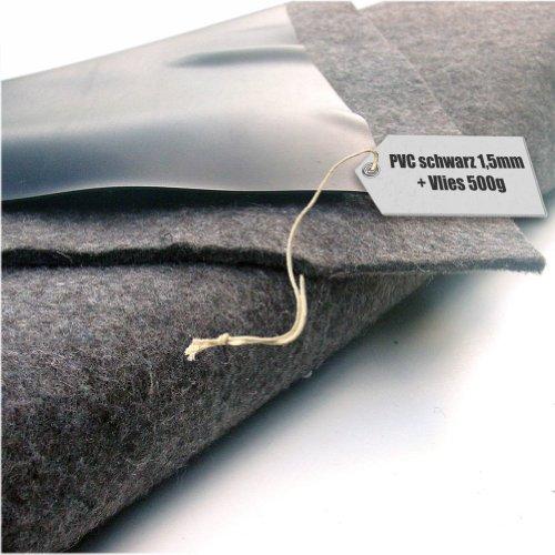 Teichfolie PVC 15mm schwarz in 6m x 10m mit Vlies 500gqm