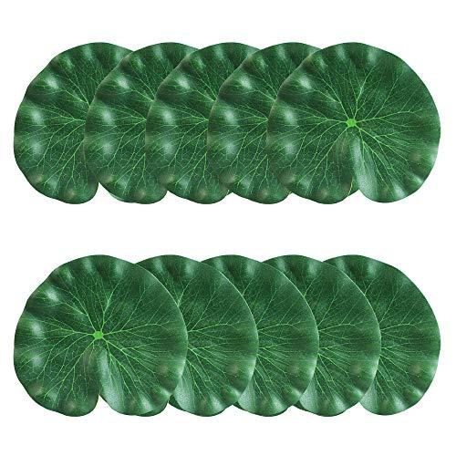CODIRATO 10 Stück 18CM Künstliches Lotusblatt Teichpflanzen Floating Foam Lotus Dekoration für AquariumTeichGrün