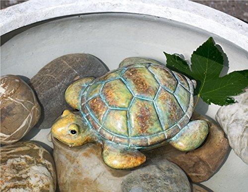 Teich-Schildkröte braungrünsand Keramik Breite 18 cm Turtle Teich Gartendeko Gartentier
