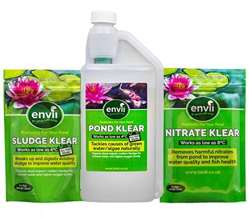 envii Teich Klear  Sludge Klear  Nitrat Klear – einjährig Teich Behandlung Pack – Grün Wasser schlamm Algen Nitrat