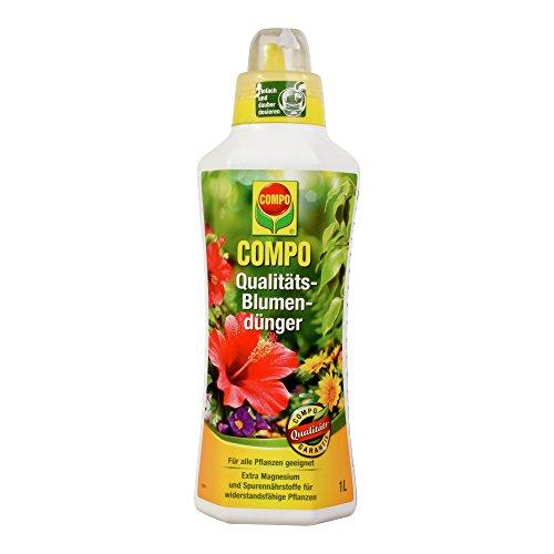 COMPO Qualitäts-Blumendünger für alle Pflanzen im Zimmer auf Balkon und Terrasse Spezial-Flüssigdünger mit extra Magnesium 1 Liter