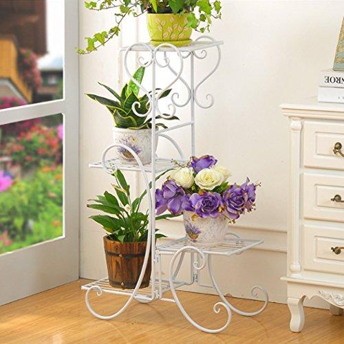 Malayas Blumenständer Metall Pflanzenregal 4 Ablagen Blumentreppe für 4 Blumentopfe Blumen Pflanzen Dekoration in HausGartenTerrasseFlur stufenförmig Blumenregalweiß