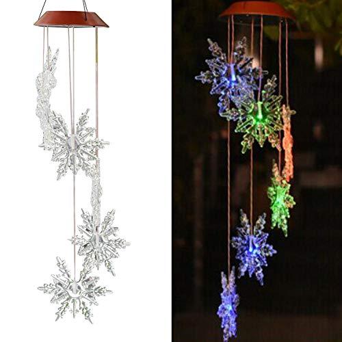LED Solar Windspiele Lampe Wind Glocken Lichter Schneeflocke Muster Winter Weihnachtsschmuck Outdoor Garten Hängende Verzierung