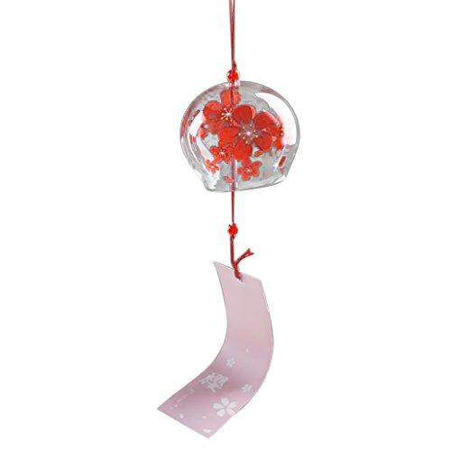 MagiDeal Japanische Art Traditionelle Hängende Windspiele Klangspiel Glasglocke Blumendruck Garten Dekor