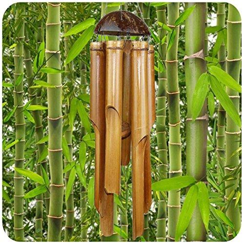 Simandra Windspiel Klangspiel Bambus Deko Mobile Klangröhren Klang-Spiel Entspannung Garten Türglocke Feng Shui 7525 cm