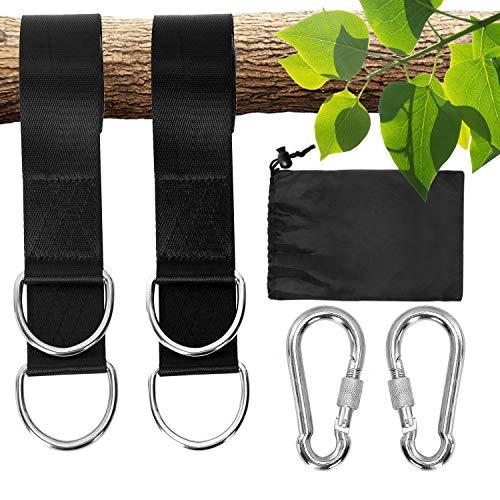 Colisal Schaukel Befestigung Set 15 m Aufhängung Haken Nylon Hanging Gurt mit 2 Karabinern für Schaukel Hängematten Schwarz