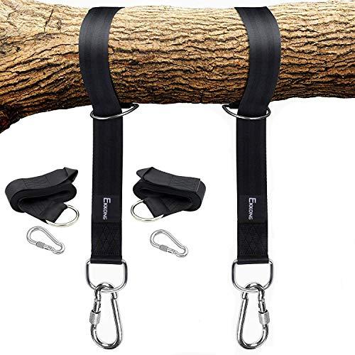 EKKONG Schaukel Befestigung 1 Paar Swing Hanging Gurt Kit Premium Schaukel Hängematte Hängesessel Befestigungs-Set aufhängeset für Schaukel Garten und hängematten 150  5cm Schwarze