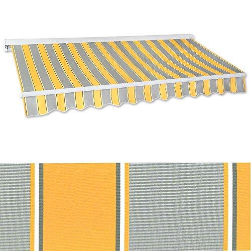 Jawoll Kassetten-Markise 5 x 3 m gelb-grau Profilfarbe Weiß Sonnenschutz Alu Markise Schattenspender Sonnensegel Hülsenmarkise Gelenkarm-Markise