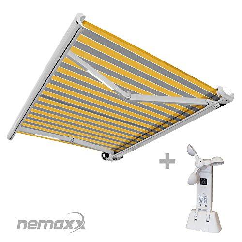 Nemaxx FCA35X Vollkassettenmarkise mit Licht- und Windsensor 35m x 25m gelb-grau  Kassettenmarkise für optimale Beschattung aus UV-beständigem und wetterfestem Acryltuch - Markise in weißer Kassette - nach DIN EN 13561