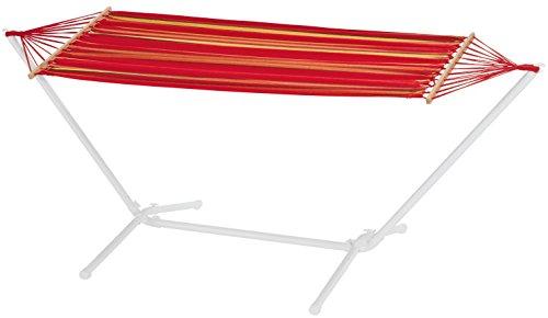 FLORABEST Hängematte mit stabilem Metallgestell rot