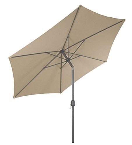 LINDER EXCLUSIV Sonnenschirm Ø 3m mit Knick knickbar mit Kurbel Schirm Gartenschirm 4 Farben Beige