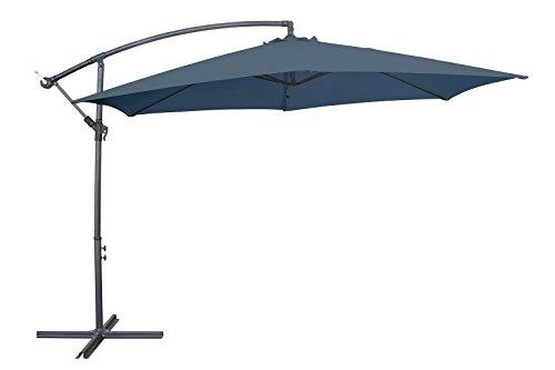 Miweba Aluminium Sonnenschirm Sunny 350cm Durchmesser 50 UV Schutz inklusive Schutzhülle Ampelschirm Marktschirm Kurbelschirm Gartenschirm Grau