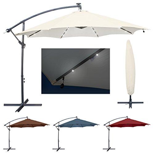 Miweba Aluminium Sonnenschirm Sunny mit LED 350cm Durchmesser 50 UV Schutz inklusive Schutzhülle Ampelschirm Marktschirm Kurbelschirm Gartenschirm Beige