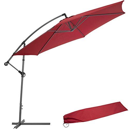 TecTake Sonnenschirm Ampelschirm mit Metallgestell  UV Schutz 350cm rot  Schutzhülle