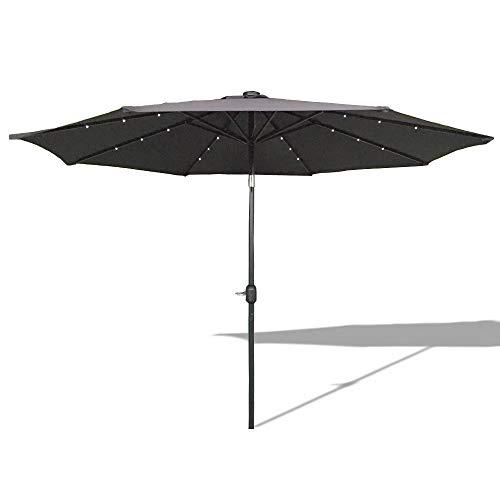 AUFUN Sonnenschirm neigbar 300cm mit kurbel und Solarbetriebene Warmweiß LED UV Schutz 40 - Dunkelgrau Alu Balkon Terrassenschirm Marktschirm Gartenschirm Dunkelgrau