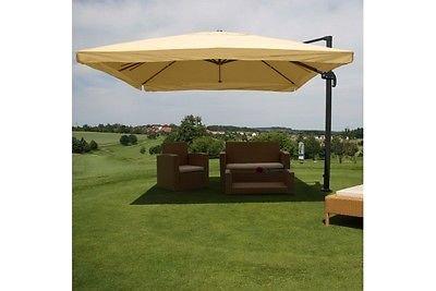 Alu Sonnenschirm 3x4m creme Ampelschirm Schirm Luxus Marktschirm Gastronomie