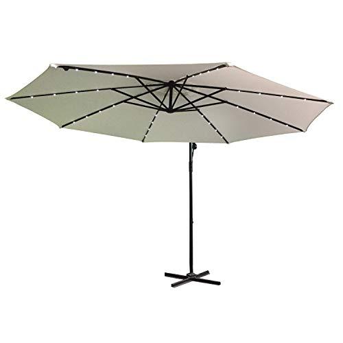 LARS360 Ø300cm Aluminium Sonnenschirm Mit LED Marktschirm Balkonschirm Gartenschirm Ampelschirm Kurbelschirm Gartenschirm UV40 Schutz Beige mit Solar LED