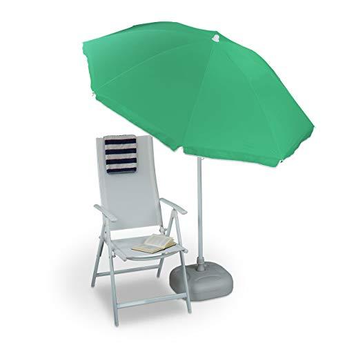 Relaxdays Sonnenschirm 180 cm Spannweite 8 Rippen Polyester Neigefunktion Gartenschirm Gastroschirm farbig