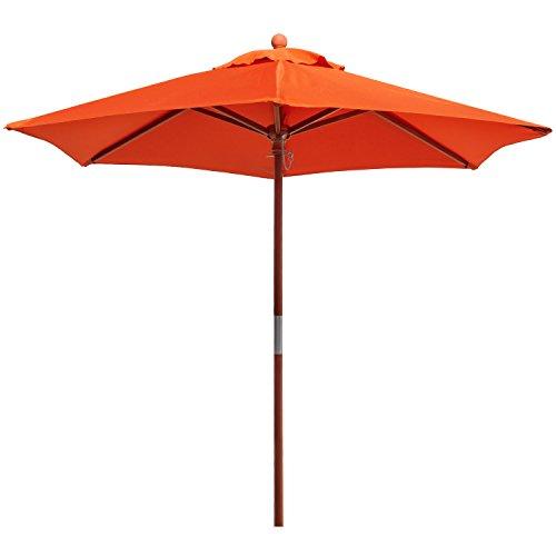 anndora 21001 VS – Sonnenschirm Standard 21 m rund Garten oder Balkon aus Holz 180 gm² 210 cm Orange  Mandarin
