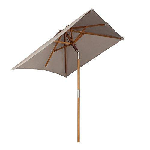 Sekey 200 × 150 cm Holz-Sonnenschirm Marktschirm Gartenschirm Terrassenschirm Sonnenschutz UV50 Taupe Quadratisch