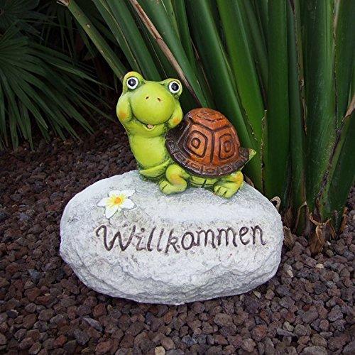 Buri Deko-Stein Willkommen Frosch Schnecke Schildkröte Gartendeko Eingangsbereich VarianteSchildkröte