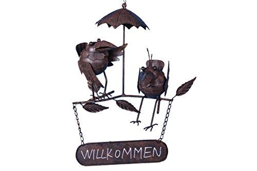 DEKORAMA trends more WILLKOMMEN Schild Deko zum Hängen mit Raben aus Metall - Vogel für Garten Terrasse Balkon