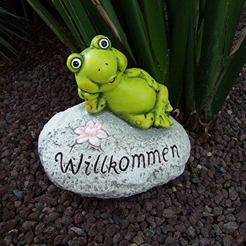 Deko-Stein Willkommen Frosch Schnecke Schildkröte Gartendeko Eingangsbereich VarianteFrosch
