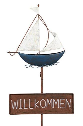 Garten-Stecker Deko-Stecker Schild Willkommen Segelboot Metall bemalt ausgefallen