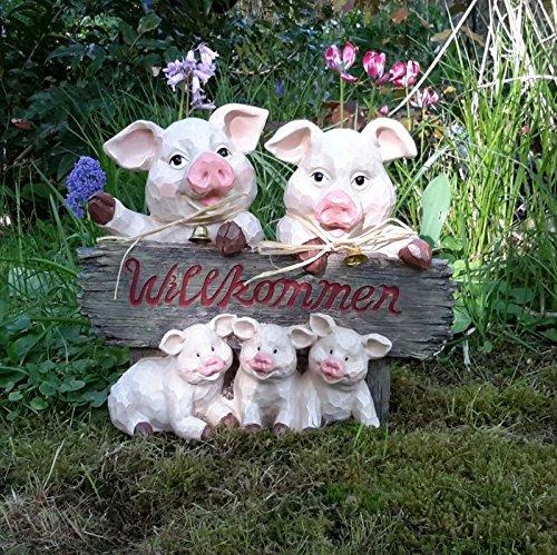 Gartendeko Willkommen Schweinchen Ferkel Wutz Schwein Bauernhof Deko