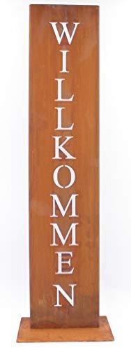 Rostikal  Willkommen Ständer Rost Schild Dekoration für Hauseingang in Edelrost Eingangsschild