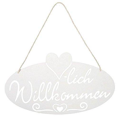 dekoratives Metall-Schild weiß Willkommen Landhaus-Deko Haustür-Deko