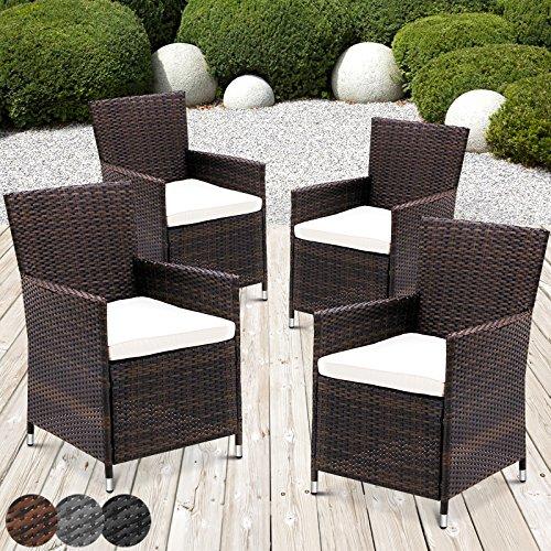 MIADOMODO Rattansessel mit Armlehne Stuhl Sessel Garten Stuhl Rattan Outdoor im Set 4 Stück mit Sitzkissen in verschiedenen Farben Braun