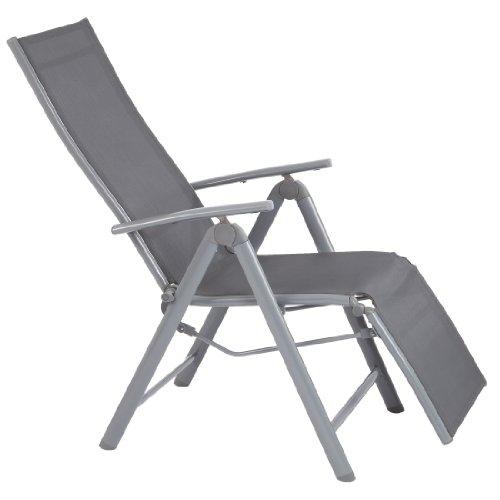 Ultranatura Liegestuhl mit Fußteil der Serie Korfu Gartenstuhl mit Liegefunktion Terrassenstuhl mit Armlehne robuster Aluminium Stuhl in Grau