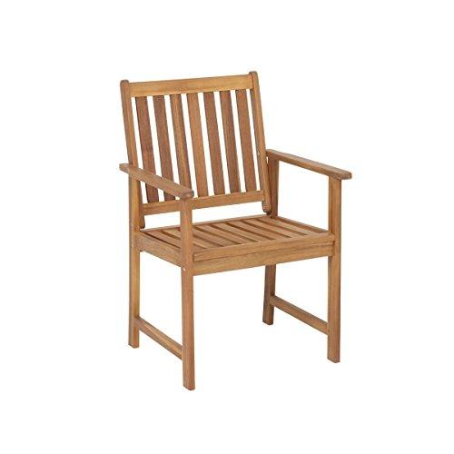 greemotion Gartenstuhl Borkum - Outdoor-Stuhl mit Armlehne - Gartensessel aus Akazie massiv - Holz-Gartenmöbel für Terrasse Balkon