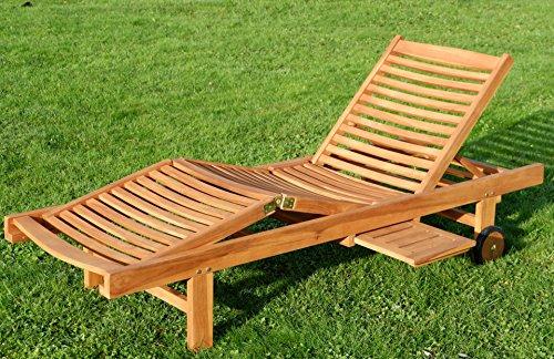 ASS Hochwertige TEAK Sonnenliege Gartenliege Strandliege Liegestuhl Holzliege Holz sehr robust Modell COZY von