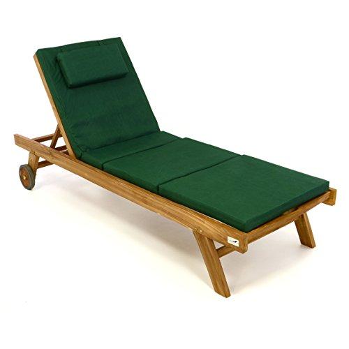 Divero Set Sonnenliege Holzliege Gartenliege Teakholz behandelt inkl Räder verstellbares Kopfteil Auflage dunkelgrün