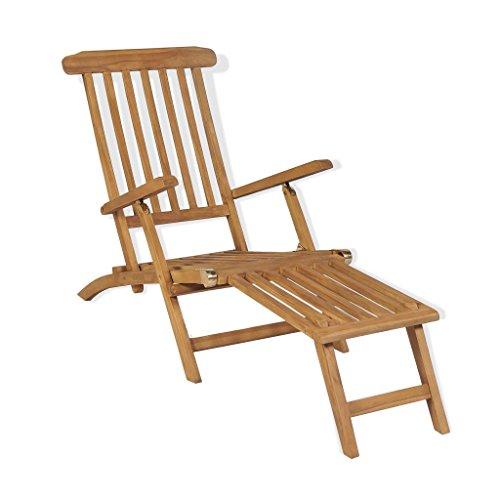 vidaXL Teak Liegestuhl mit Fußstütze Relaxliege Sonnenliege Gartenliege Liege
