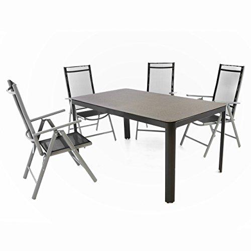 Nexos 5-Teiliges Gartenmöbel-Set – Gartengarnitur Sitzgruppe Sitzgarnitur aus Gartenstühlen Spray-Stone-Glastisch – Aluminium Kunststoff Glas – Schwarz Grau