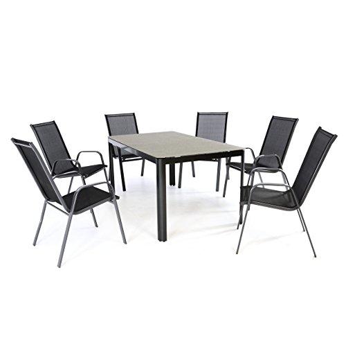 Nexos 7-Teiliges Gartenmöbel-Set – Gartengarnitur Sitzgruppe Sitzgarnitur aus Stapelstühlen Spray-Stone-Glastisch – Aluminium Kunststoff Glas – Schwarz Grau