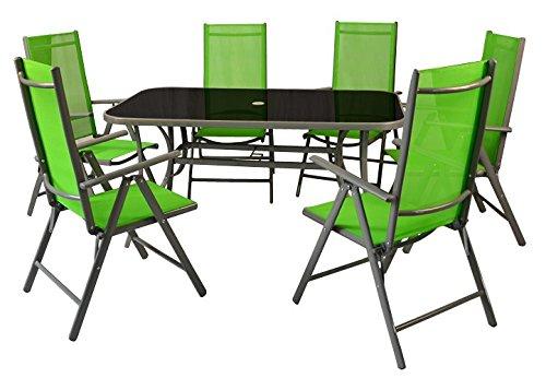 Nexos 7-teiliges Gartenmöbel-Set – Gartengarnitur Sitzgruppe Sitzgarnitur aus Gartenstühlen Esstisch – Aluminium Kunststoff Glas – grün