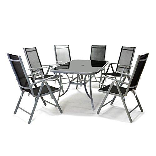 Nexos 7-teiliges Gartenmöbel-Set – Gartengarnitur Sitzgruppe Sitzgarnitur aus Gartenstühlen Esstisch – Aluminium Kunststoff Glas – schwarz grau