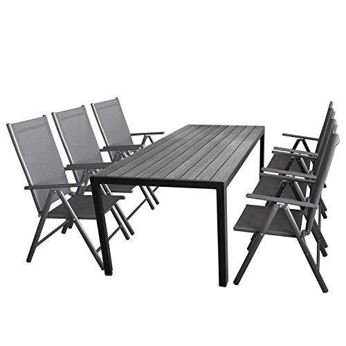 Wohaga Gartenmöbel-Set 7tlg Sitzgarnitur mit Aluminium Polywood Gartentisch  6X verstellbare Aluminium Hochlehner mit Komfortbespannung Anthrazit